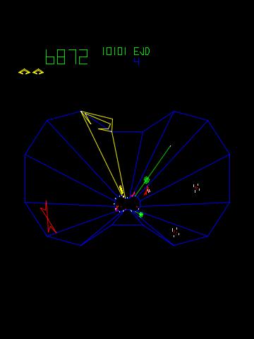 - A classic vector tunnel shooter.  Use the spinner to move your ship around the outside of the arena and shoot the oncoming baddies.